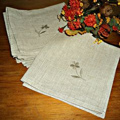 6 Vintage Linen Napkins Ecru Embroidered Flower Napkins by treasurecoveally on Etsy
