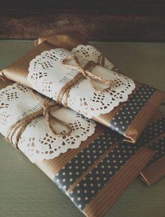I love the paper doily wrapped around this small package under the ribbon. It's such an easy/cheap way to use something uncommon to bump gift wrapping up a notch. A plus? It can double as a tag.