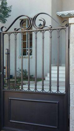 Wrought Iron Driveway Gates, Metal Gates, Iron Gate Design, House Gate Design, Wooden Garden Gate, Garden Doors, Porch Gate, Backyard Gates, Sliding Gate