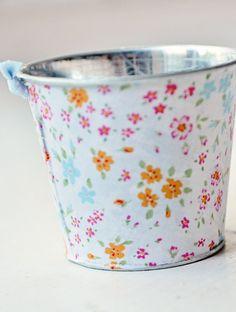 Fabric decoupaged  metal bucket petite fleur