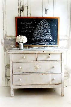 A N T I Q U E School House Christmas by smallVintageAffair on Etsy, $189.00 LoVe the SHaBBy-WhiTe Dresser & background as well!*!*!