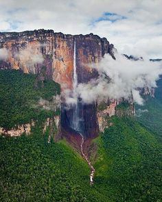 Venezuela's Lost World of Canaima National Park is home to Angel Falls and with a drop of almost one kilomtre from the tabletop mountain Auyantepui, it's the worlds highest waterfall  Photo thanks to @airpano check out their gallery if you love aerial photography