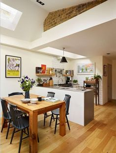 Small Kitchen and Dining Room New Open Concept Kitchen Dining Room Floor Plans Small Open Plan Kitchens, Open Plan Kitchen Dining Living, Living Room And Kitchen Design, Kitchen Diner Extension, Open Plan Kitchen Diner, Kitchen Design Open, Space Kitchen, Narrow Kitchen, Kitchen Small
