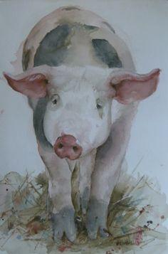"Saatchi Online Artist: Marie-helene Stokkink; Watercolor, 2013, Painting ""The last Pig"""