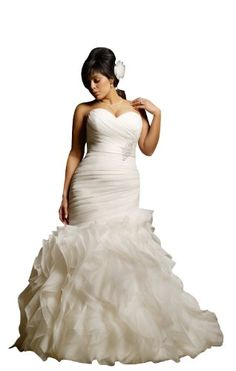 e7a55b4510 Autoalive Womens Sweetheart Beads Ruffles Plus Size Mermaid Wedding Dress  white    Click image for more details.