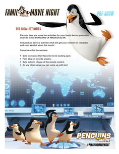 Set yourself up for the perfect Penguins of Madagascar movie night with a few of these activities.