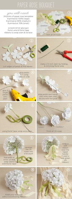 """How to make a paper rose bouquet """"DIY: paper rose bouquet - For all your paper flower needs!"""", """"Paper rose bouquet flowers diy crafts home made easy cra Paper Flower Tutorial, Paper Flowers Diy, Paper Roses, Handmade Flowers, Flower Crafts, Diy Paper, Fabric Flowers, Paper Crafts, Rose Tutorial"""