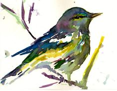 """Print of Original Watercolor Painting, Titled: """"Bobby the Bird"""" by Jessica Buhman 8 x 10 Yellow Blue Pruple Green Turquoise Branch"""