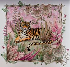 Tiger is done 🐯 #magicaljungle #johannabasford #coloring #coloringbook…