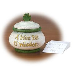 "A Wee Bit Of Wisdom Blessing Jar  Invite guests at an occasion such as a shower, birthday, or graduation to write their wee bit o' wisdom or Irish blessing. Tuck the notes into the jar for future enjoyment. Comes boxed with pad of paper. Imported. Resin. 5 x 1/2 x 5 x 1/2"".  Get a wee bit of wisdom or blessings from this jar today!  #Irish #IrishGifts #Ireland"