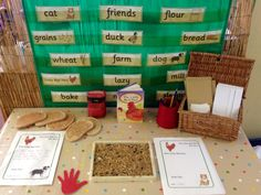 A theme-based writing/literacy display can help keep children interested and engaged in advancing their language and literacy development.