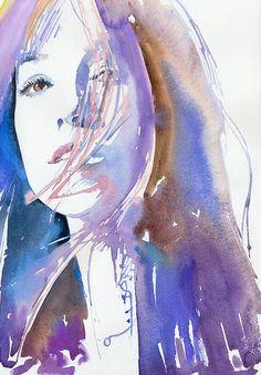 "Print of Watercolour Fashion Illustration, 13"" x 19"". Titled Charlotte"