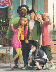 Tadashi Hamada, Honey Lemon, GoGo Tomago, Fred and Wasabi Disney Pixar, Walt Disney, Best Disney Movies, Disney Memes, Disney And Dreamworks, Disney Cartoons, Disney Animation, Disney Magic, Baymax
