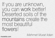 If you are unknown, you can work better! Deserted soils of the mountains create the most beautiful flowers! Mehmet Murat Ildan
