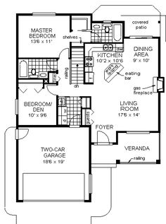 First Floor Plan of Bungalow   Narrow Lot   Traditional   House Plan 98837