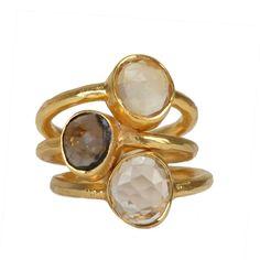 Neutral Gemstone Ring Stack - Robindira Unsworth Ring | Fragments