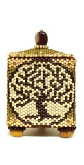 "Tree of Life    Dimensions:  1.75"" wide x 2.25"" tall    Technique:  Peyote Stitch"