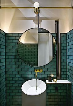 Dark grout. Green tile