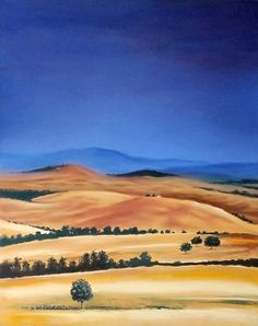 Landscape Painting of Italy Tuscany Hills - ORIGINAL Pastel - 16x20 inch