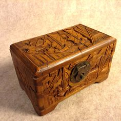 Deep Detailed Hand Carved Oriental Wood Box  by KentuckyTrader