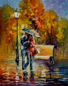 Red raincoat by Leonid Afremov by Leonidafremov on DeviantArt
