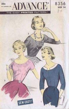 Vintage Blouse 1950s Sewing Pattern 8356 Advance Size 14 Bust 34 Waist 26 5 Cut | eBay