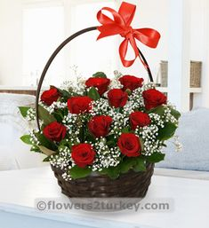 Flower Basket with Red Roses                                                                                                                                                                                 More