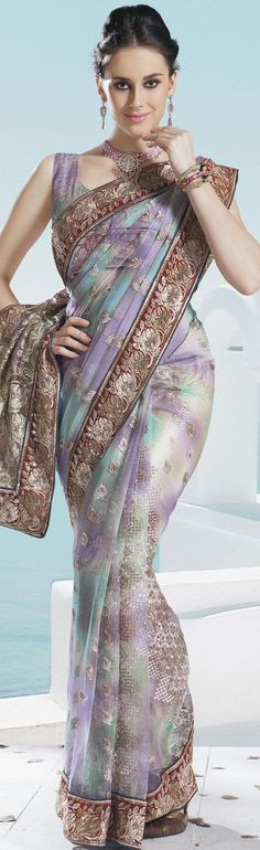 Bluish Purple and Teal Blue Net Embroidery Saree With Unstitched Blouse