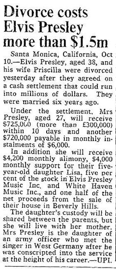 Elvis divorce makes headlines Elvis Presley Family, Elvis Presley Photos, Elvis And Priscilla, Priscilla Presley, Cost Of Divorce, Elvis Quotes, Elvis Memorabilia, Newspaper Article
