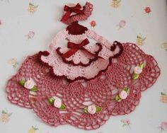 crochet caroline lady doilies | Crinoline Lady Hand Crochet Doily in Shades of Pink & Mauve w Roses