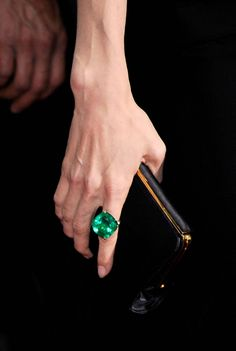 65-carat Colombian emerald ring by Lorraine Schwartz on Angelina Jolie at the 2009 Academy Awards