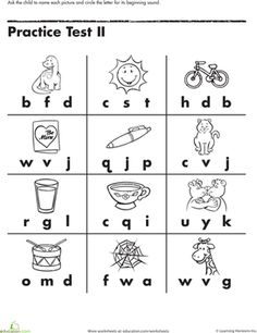 Beginning Letter Sounds Worksheet -- kids could use the hole punch to mark their answer