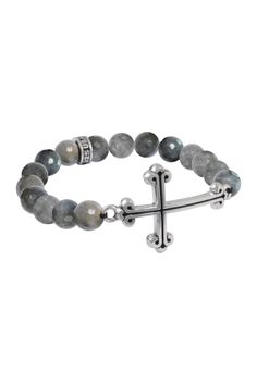 Cross Charm Labradorite Bead Stretch Bracelet