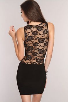 Black Lace Cut Out Sexy Party Dress