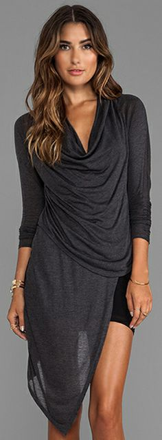 Heather Double Asymmetric Dress in Heather/Black | also great look with leggings & boots