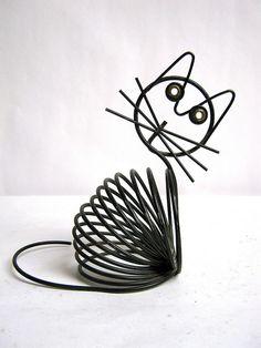 vintage wire cat envelop holder