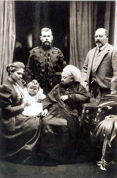 Queen Victoria with her son Albert and the Russian Czar and Czarina