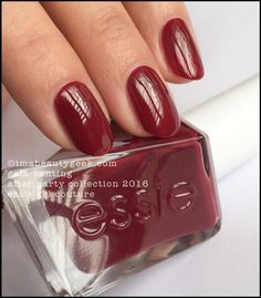 Essie Gala-vanting – jovial marooned red (above). You can get perfect coverage in one coat, but not perfect opacity so do two coats, k?