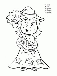 color by number cute witch coloring page for kids education coloring pages printables free