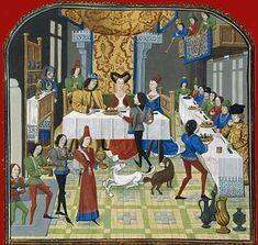 """Nuptial banquet from medieval manuscript """"STOIRE D'OLIVIER DE CASTILLE ET D'ARTUS D'ALGARBE"""""""