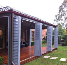 Experts in external aluminium shutters/ louvres. Choose from fixed in place Bi-F… Experts in external aluminium shutters/ louvres. Choose from fixed in place Bi-Fold or Sliding operation operable or fixed louvres. Patio Diy, Patio Pergola, Backyard Patio, Patio Ideas, Pergola Kits, Pergola Ideas, Alfresco Ideas, Wood Patio, Wooden Pergola