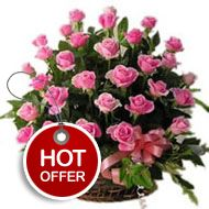 """""""Pink Poise"""" will tantalize and enrich your senses with its stunning beauty, visual appeal, and sophistication. Perfect for any occasion, this splendid floral gift will definitely win hearts of your loved ones. • An exquisite floral Basket of 20 Pink roses , • Lot of leafy greens enhance beauty of the arrangement , http://flowershop18.in/flowers-to-lucknow.aspx"""