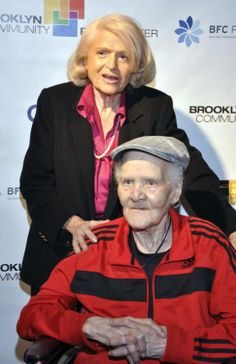 Edith Windsor poses for a photograph with Storme DeLarverie, a lesbian activist, in April 2014.   DeLarverie was active in the Stonewall Riots in 1969.