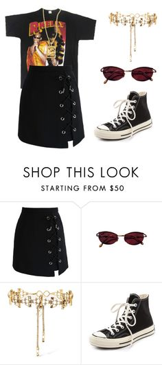 """""""Untitled #730"""" by lucyshenton ❤ liked on Polyvore featuring Chicwish, Jean-Paul Gaultier, Erickson Beamon and Converse"""