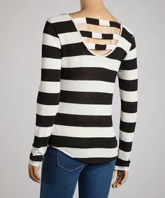 Look at this #zulilyfind! Zenana Black & Ivory Stripe Vent-Back Top by Zenana #zulilyfinds