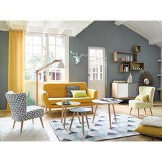 Tapis NORDIC, tables basses gigognes FJORD, fauteuil vintage jaune ICEBERG, fauteuil imprimé vintage SCANDINAVE   Maisons du Monde