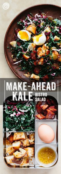 Kale Bistro Salad. Other salad recipes get soggy and gross by lunch time, but not this one! The kale stays crisp and delicious, homemade croutons add crunch, bacon adds delicious flavor, and - of course - an egg for protein to keep you full. Healthy make ahead meals like this make it easy to take your lunch to work.