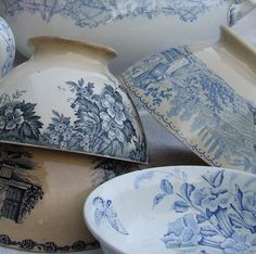 Blue transferware    My French Country Home, French Living - Sharon Santoni