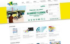 Website da empresa de transportes públicos Eva Transportes.