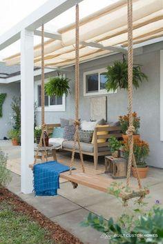 Patio Pergola, Backyard Patio Designs, Diy Patio, Pergola Kits, Flagstone Patio, Patio Stone, Patio Privacy, Concrete Patio, Patio Table